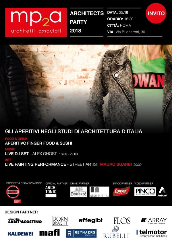 Invito aperi-evento studio mp2a architetti associati con lo Street Artist Mauro Sgarbi
