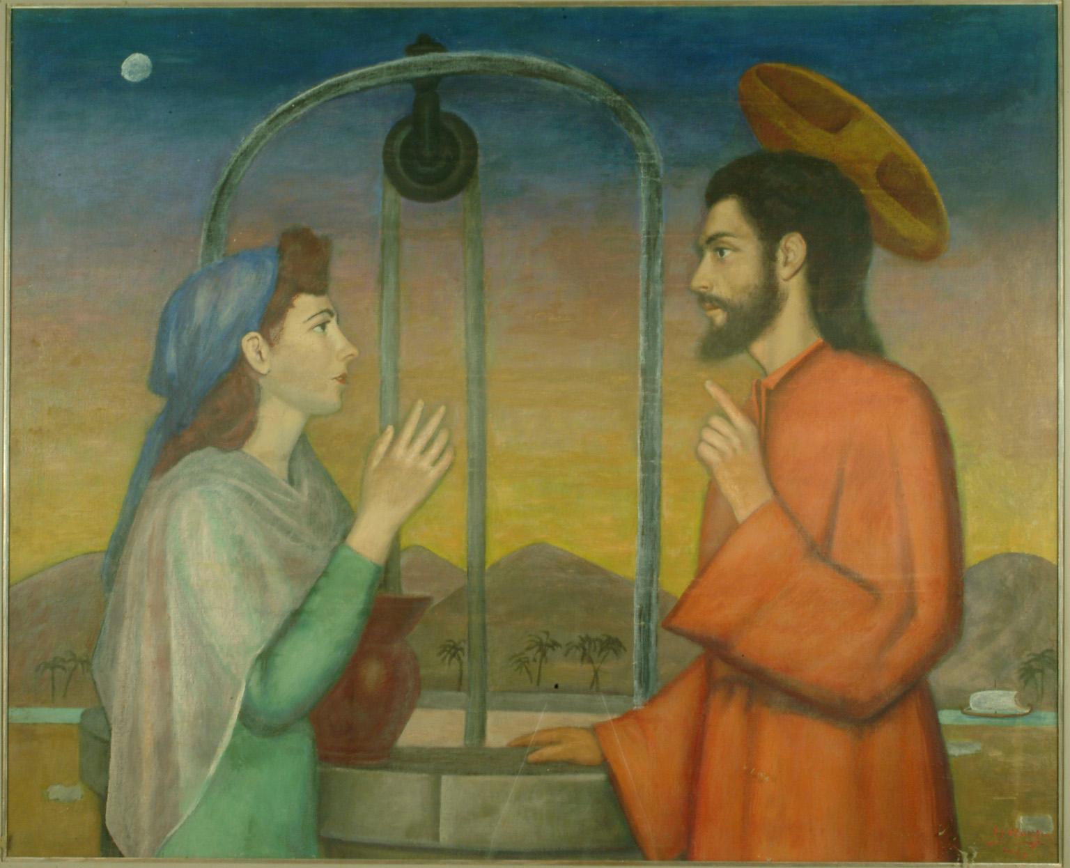 Speranza Francesco, Cristo e la Samaritana presso il pozzo, 1952, tempera su tavola